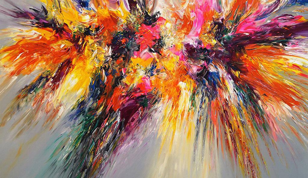 高清现代手绘红色紫色动感喷溅抽象装饰画