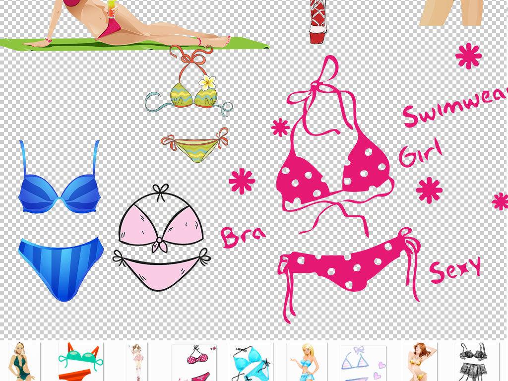 png)手绘海报设计比基尼美女风格沙滩美女内裤蕾丝