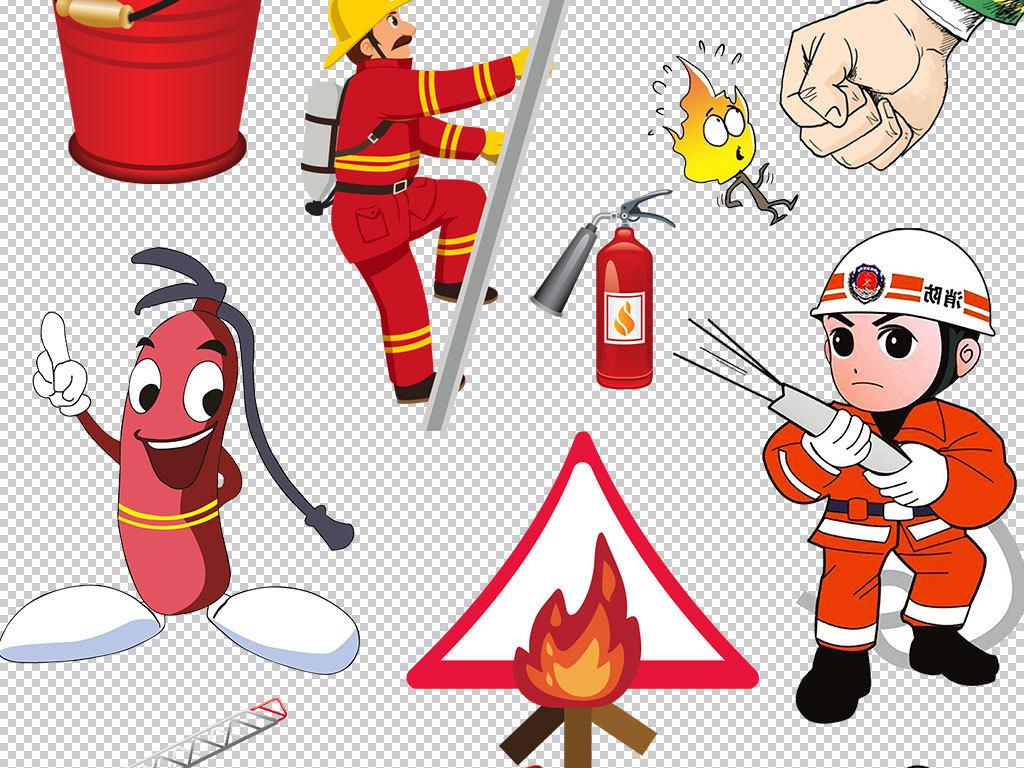 卡通消防员消防安全设计海报素材