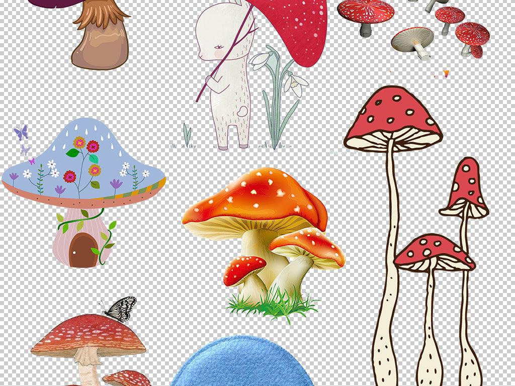 阶梯与蘑菇红蘑菇毒蘑菇卡通房子卡通手绘房子卡通小