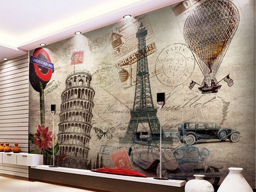 欧美巴黎铁塔斜塔复古欧式油画工装背景墙