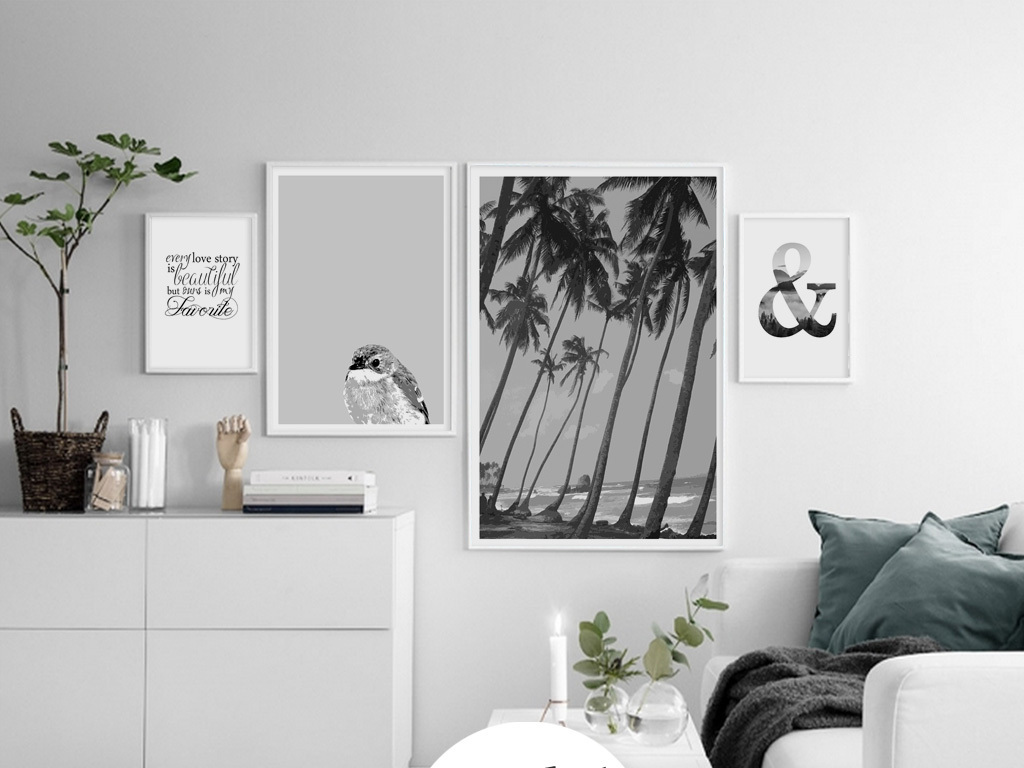 北欧创意手绘清新风景组合四联无框画