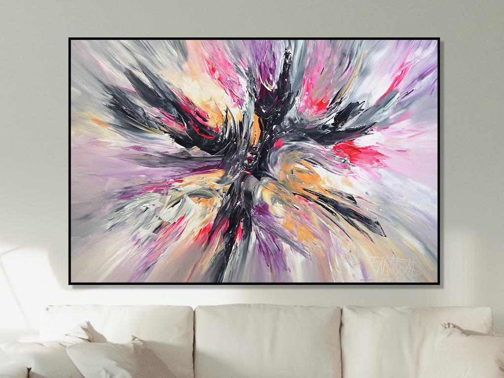 手绘现代客厅黑色红色动感线条抽象装饰画