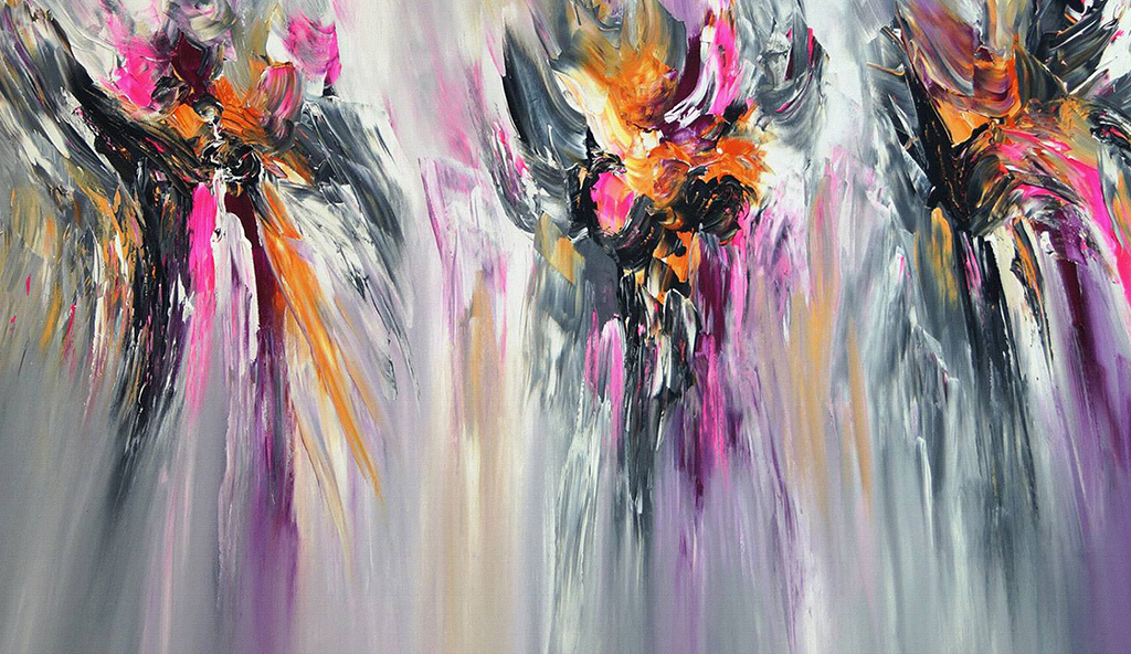 高清手绘美式现代紫色红色动感线条抽象壁画图片