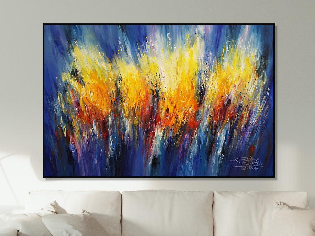 北欧无框画抽象蓝色花卉手绘花卉美式花卉现代抽象抽象花卉蓝色花卉