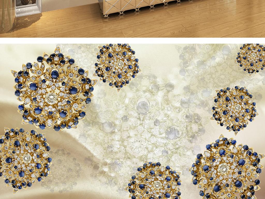 大理石纹浮雕欧式牡丹花纹丝绸花珠宝欧式花朵欧式