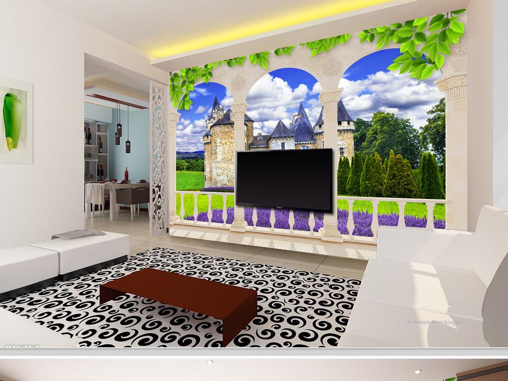 欧式阳台古堡庄园风景3d背景墙