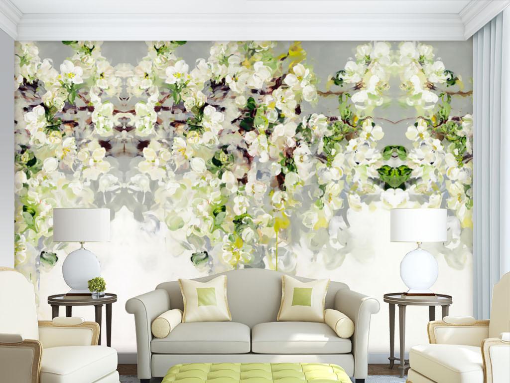 手绘抽象油画蔷薇玫瑰壁纸背景墙