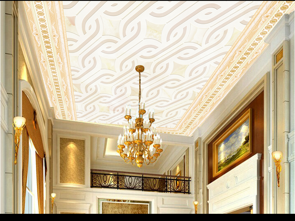 欧式地板画拼花天花背景壁纸地毯图案吊顶画天顶壁画