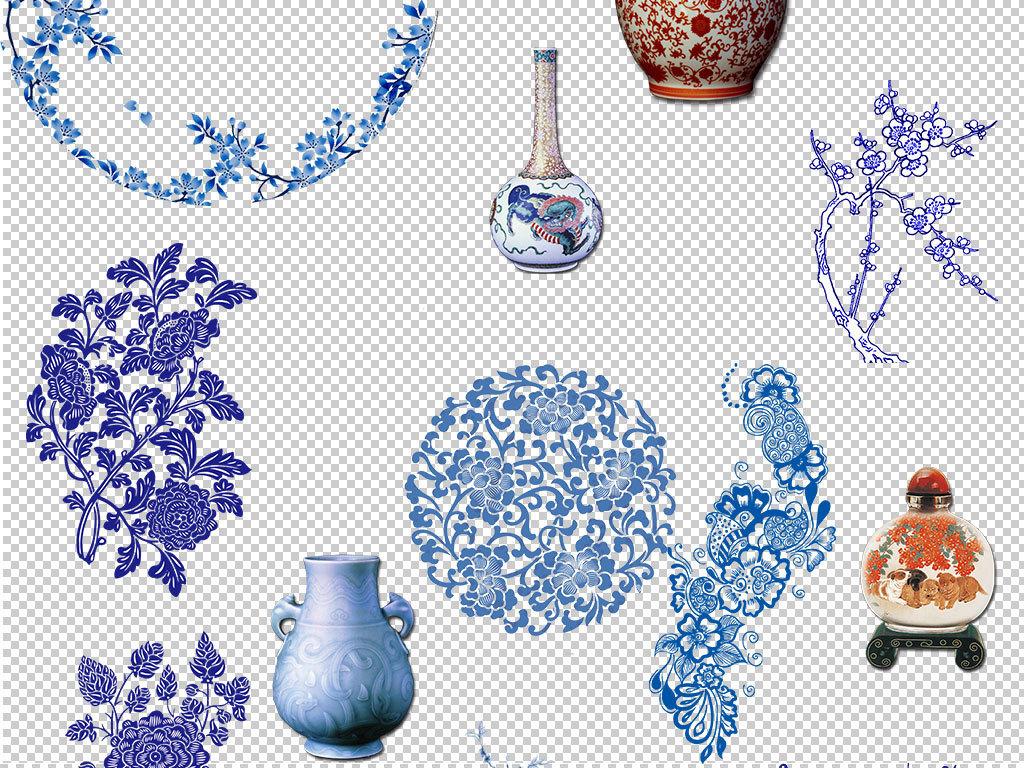 设计作品简介: 中国青花瓷瓷器造型设计元素 位图, rgb格式高清大图