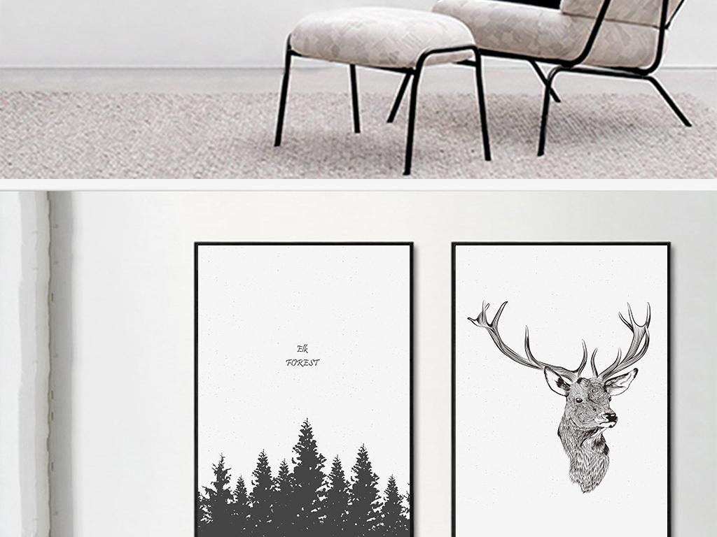 北欧简约黑白装饰画