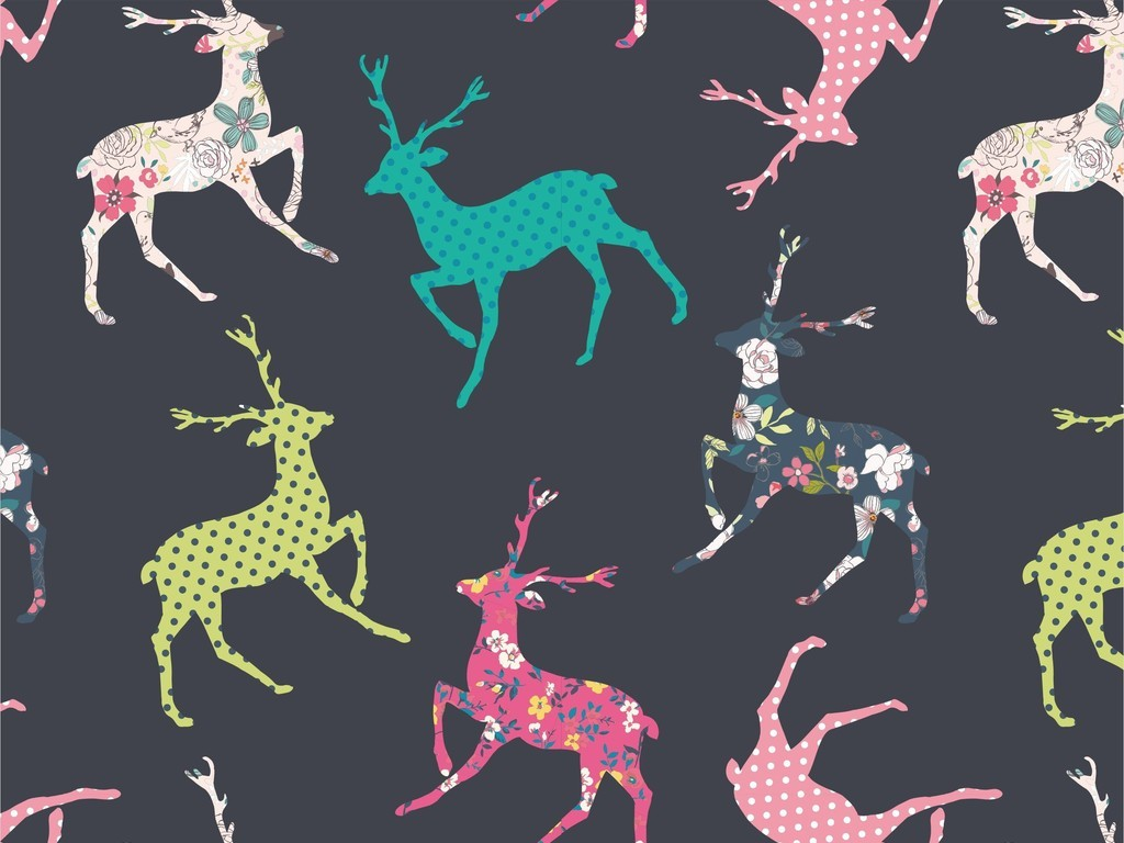 动物图案剪影小鹿可爱卡通印花图案ai素材