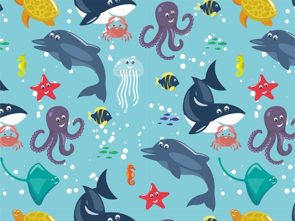 卡通图案 > 海洋元素鱼类被子床单面料儿童背景墙图片