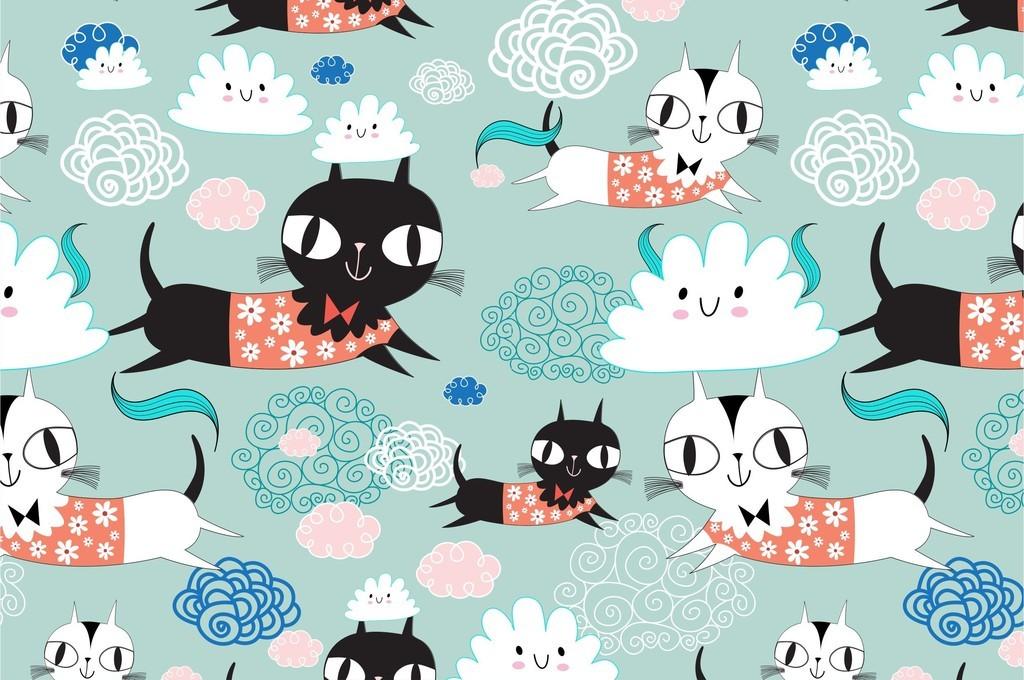 可爱卡通动物猫童装面料印花图案包装设计图