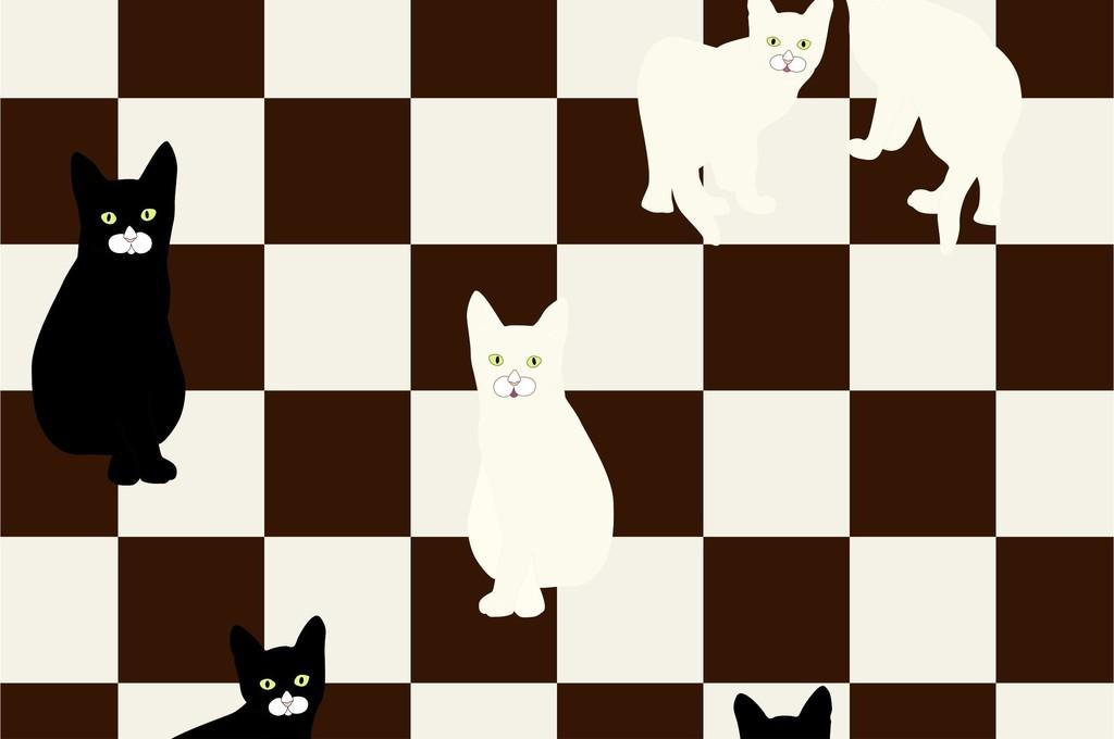 卡通图案动物猫几何图形儿童房墙纸印花图案