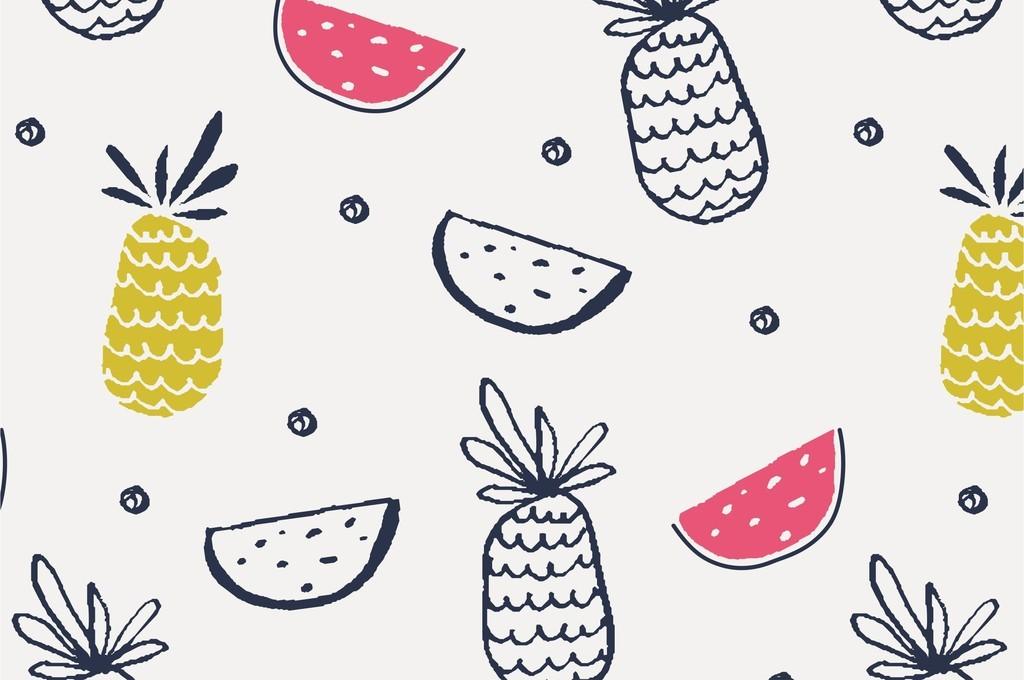 美食世界水果手绘可爱卡通图案ai矢量图