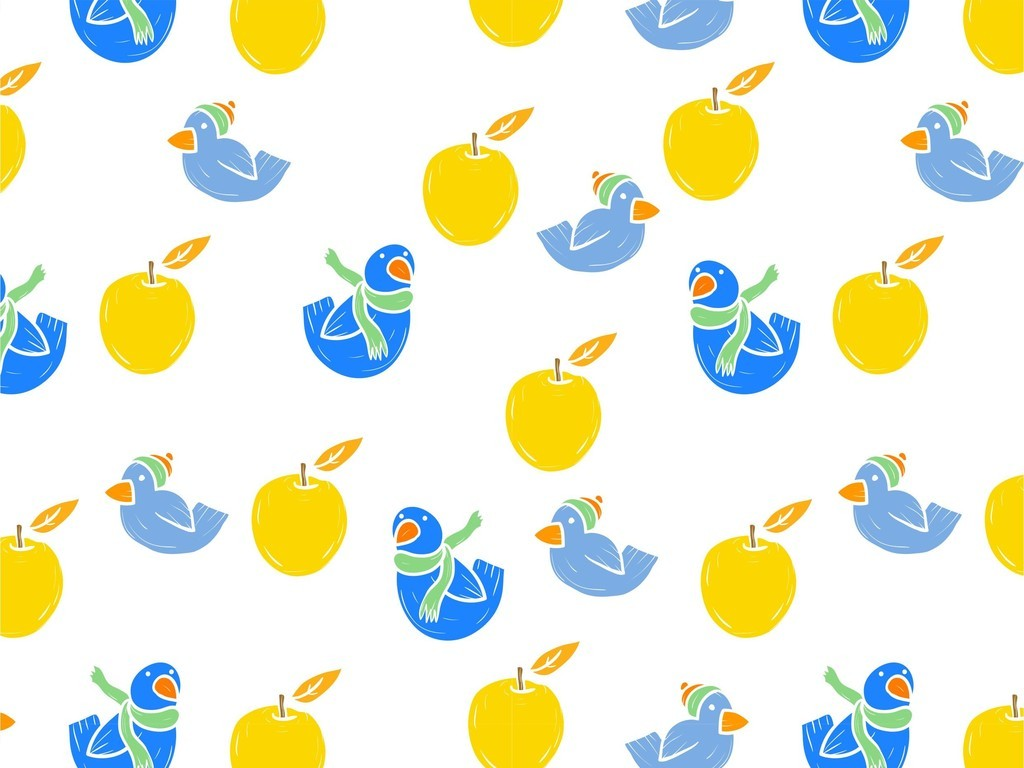 美食世界水果卡通图案动物鸟小清新印花图案