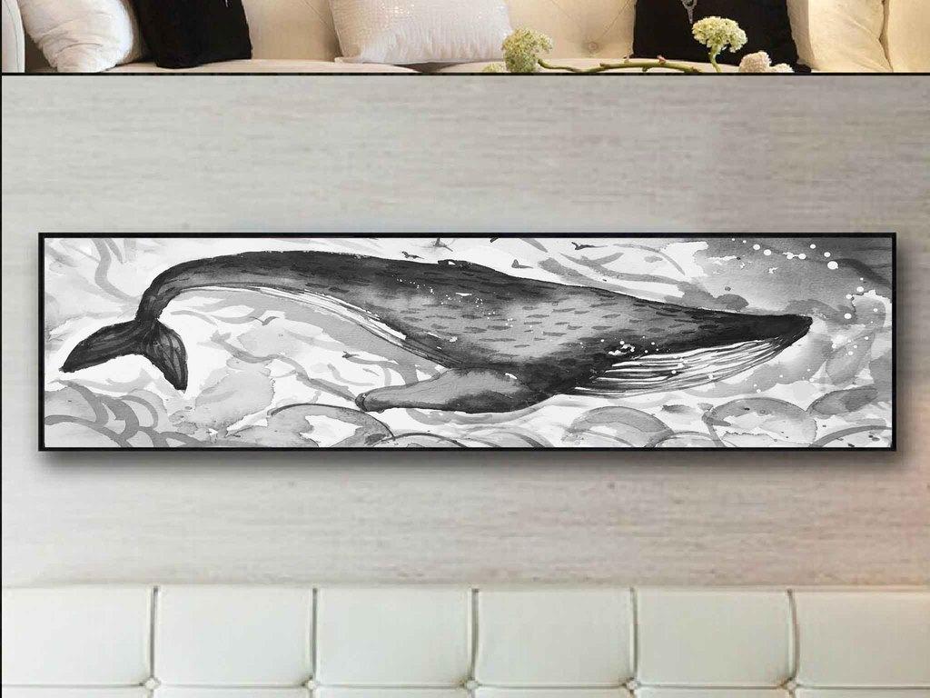 黑白画涂鸦床头画鲸鱼手绘涂鸦水墨装饰手绘鲸鱼装饰