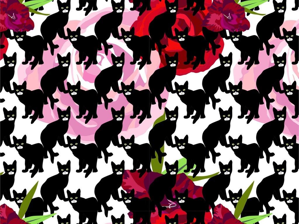 植物花卉图案通动物猫卡通童装器具印花图案