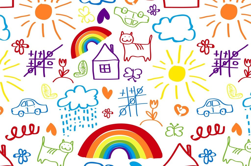 阳光太阳彩虹儿童画手绘背景墙幼