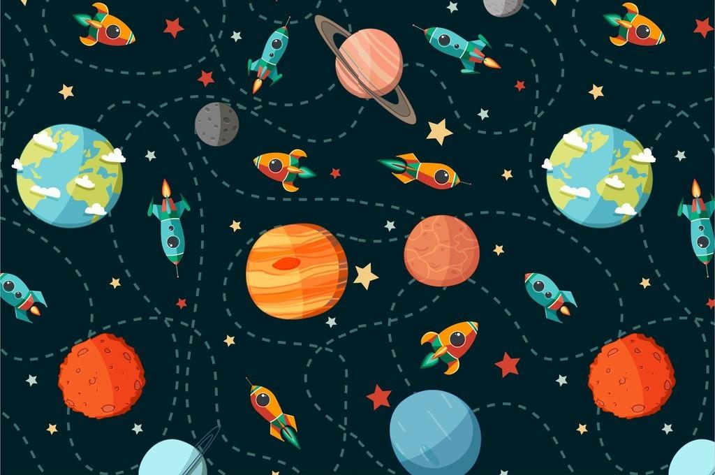 外太空星球飞船开通手绘印花图案素材矢量图图片下载ai素材 卡通图案