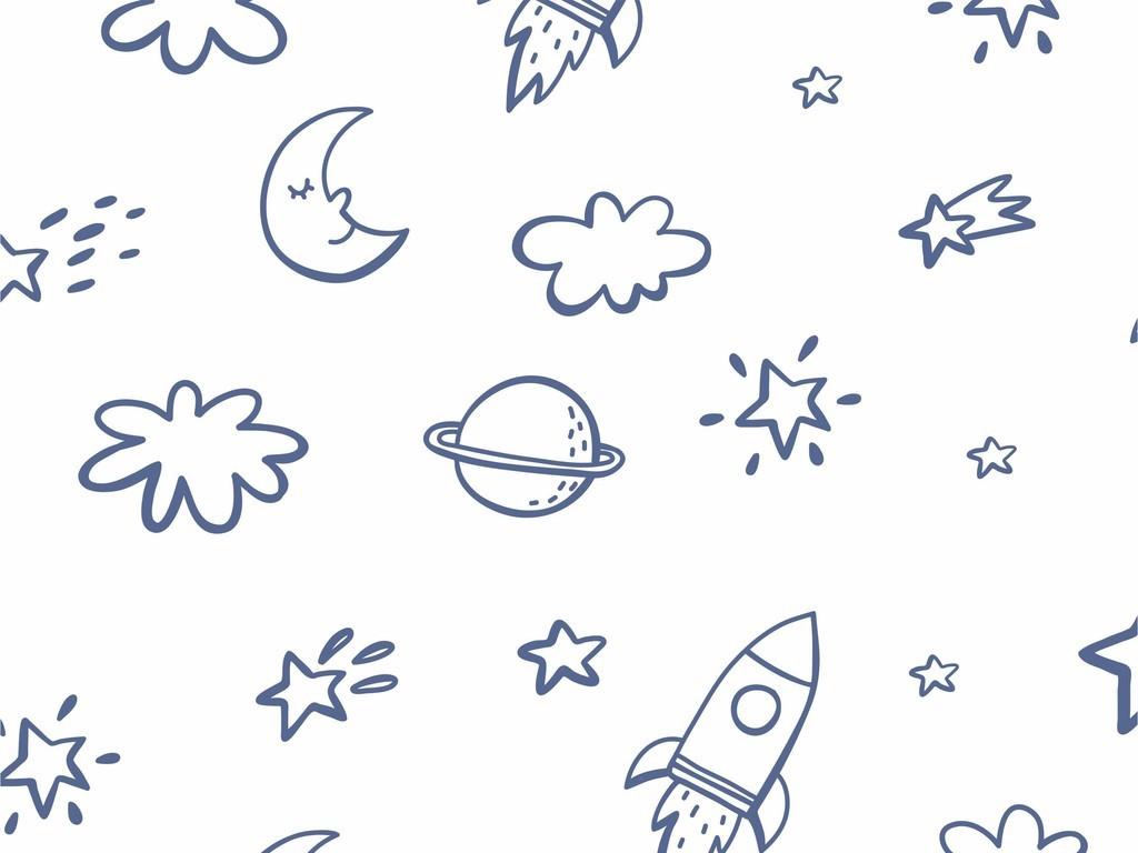 手绘小清新天空月亮卡通元素印花图案素材