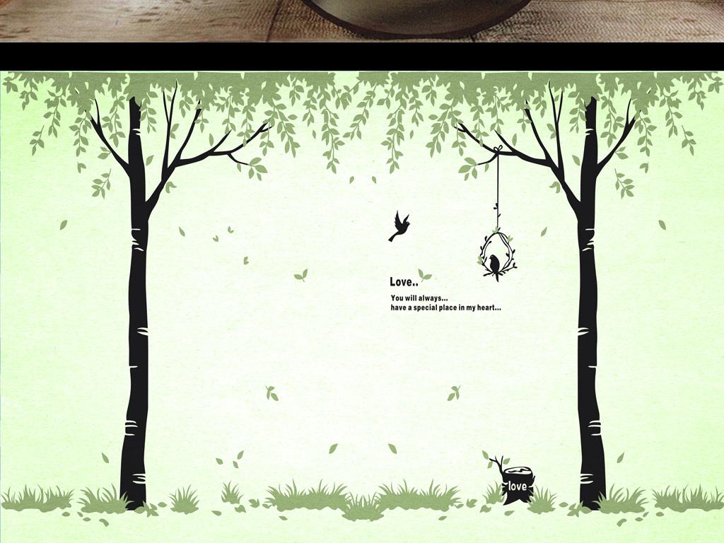 田园创意唯美北欧背景墙沙发清新图片