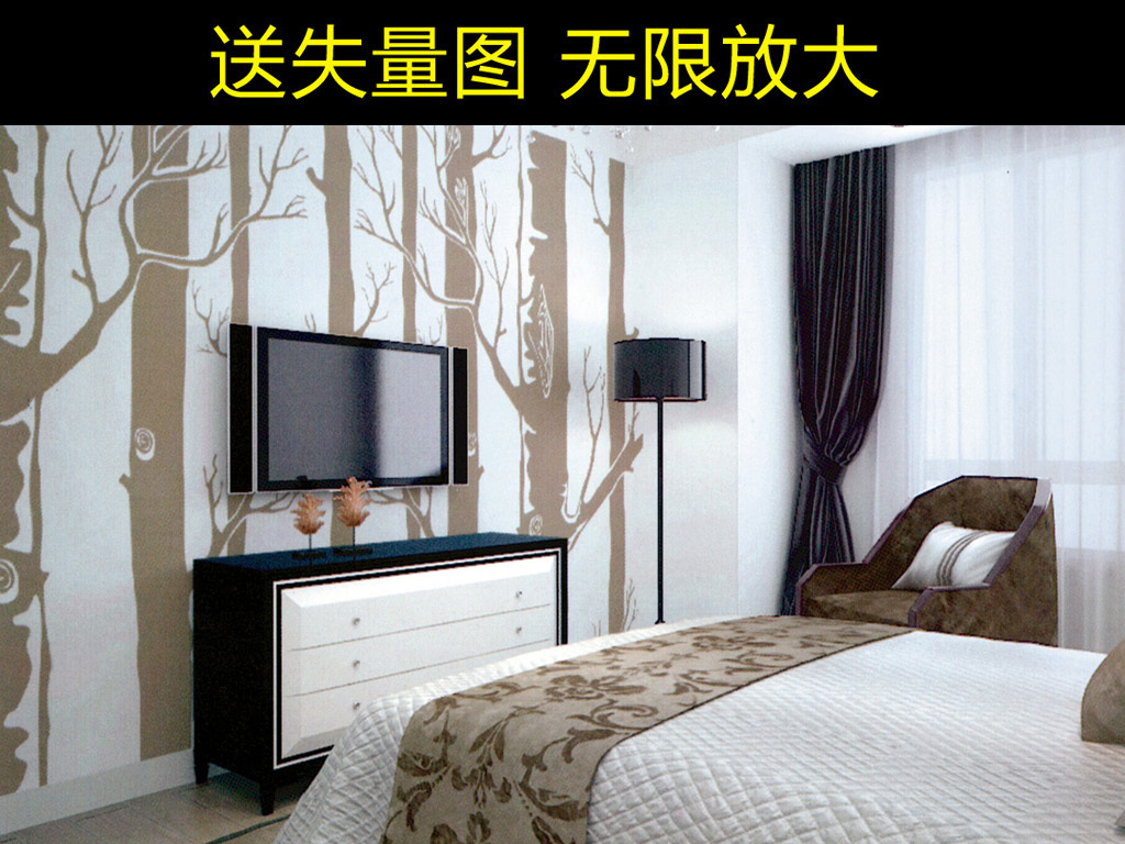 房间电视背景墙创意森林北欧风格