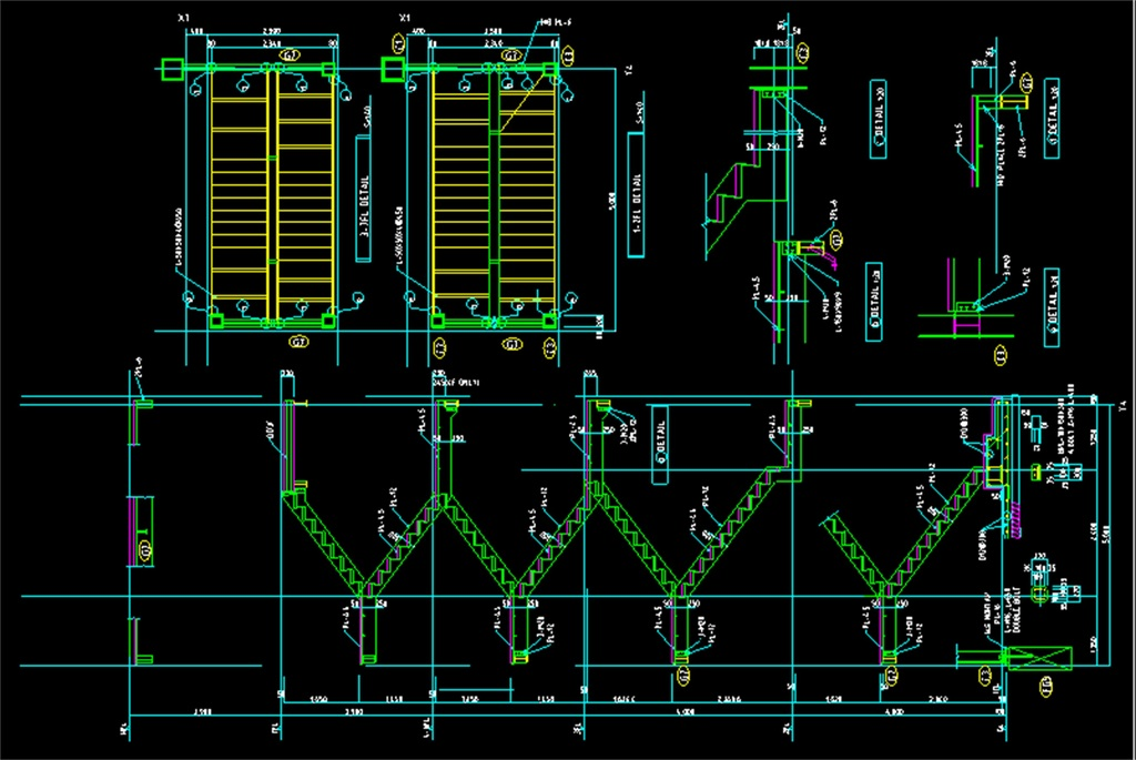 cad图库 室内设计cad图库 cad图纸 > 钢楼梯cad建筑施工图
