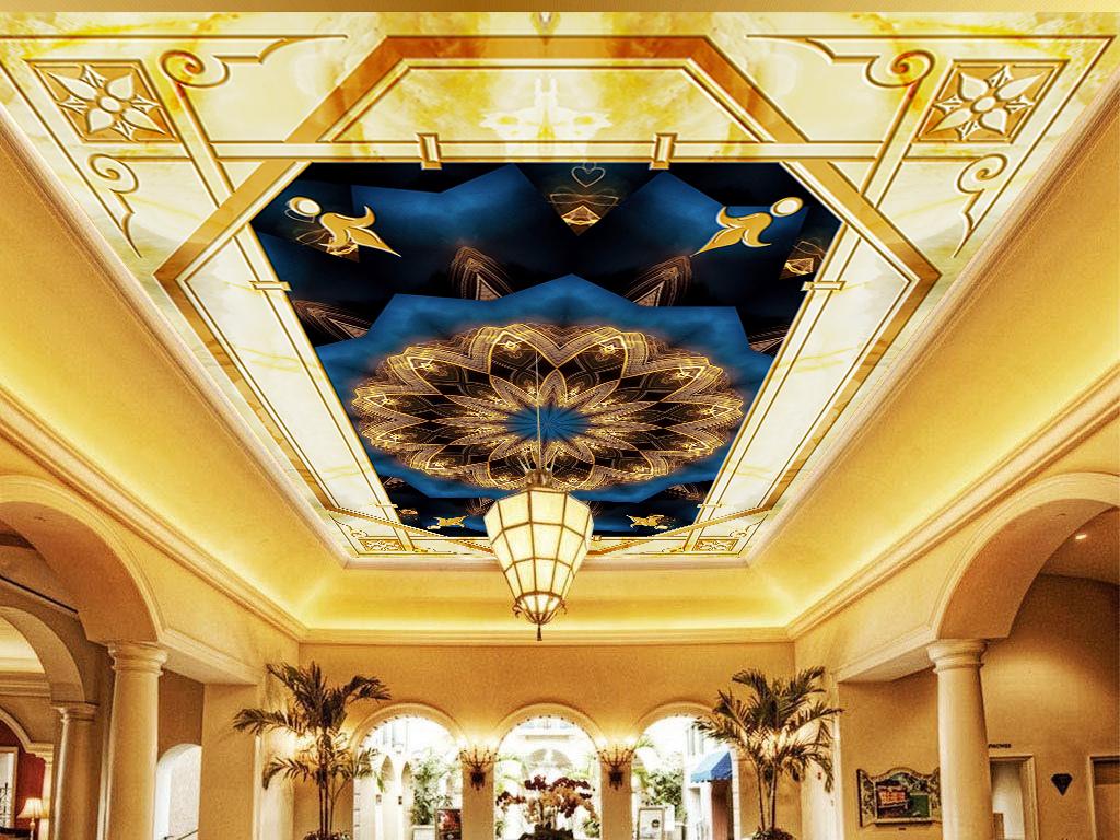 欧式风格花纹图案天顶壁画天花板壁纸