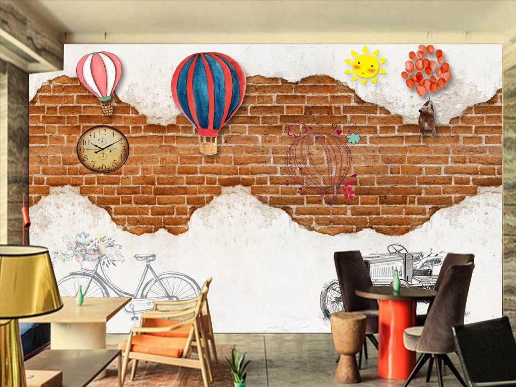 咖啡厅餐厅手绘复古做旧主题背景墙