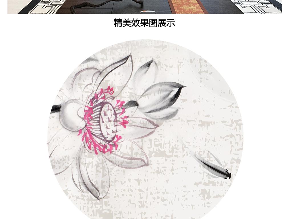 手绘水墨风格禅意荷花游鱼荷塘嬉戏茶馆新中式沙发电视背景