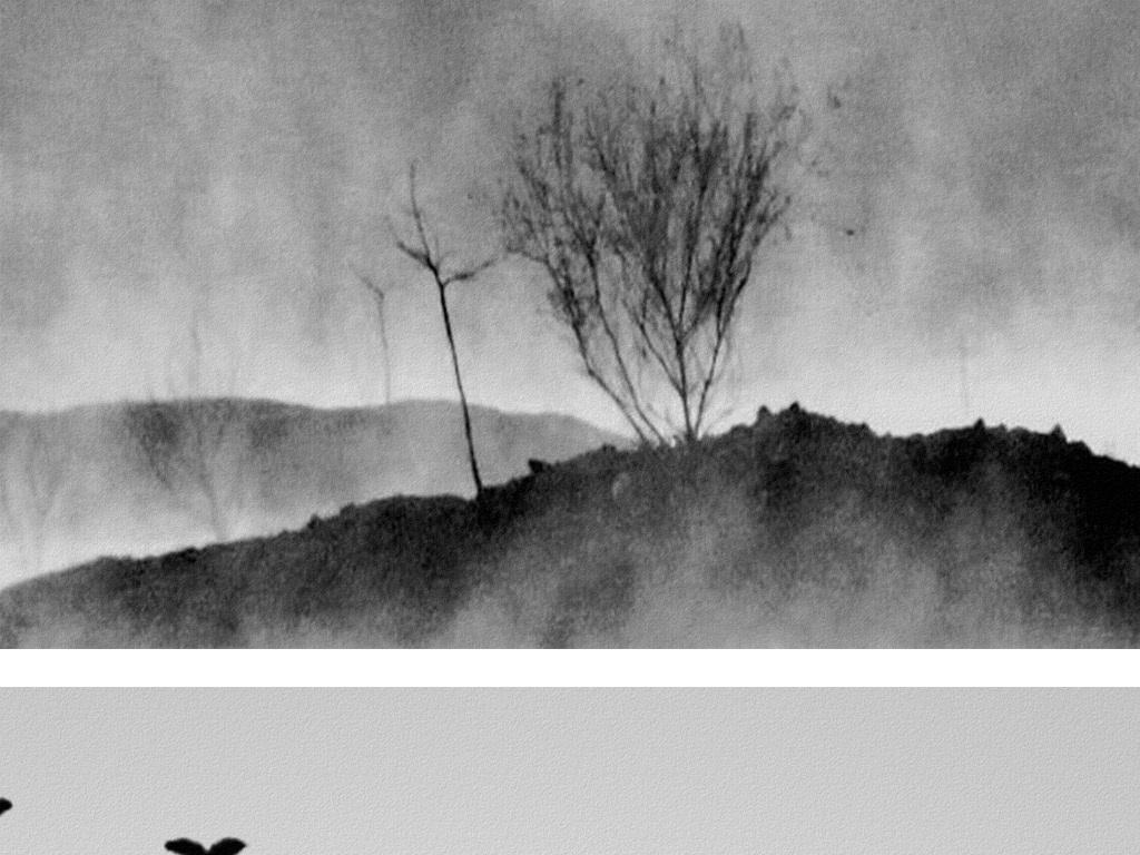 国画山水风景中式水墨画无框画背景墙图片