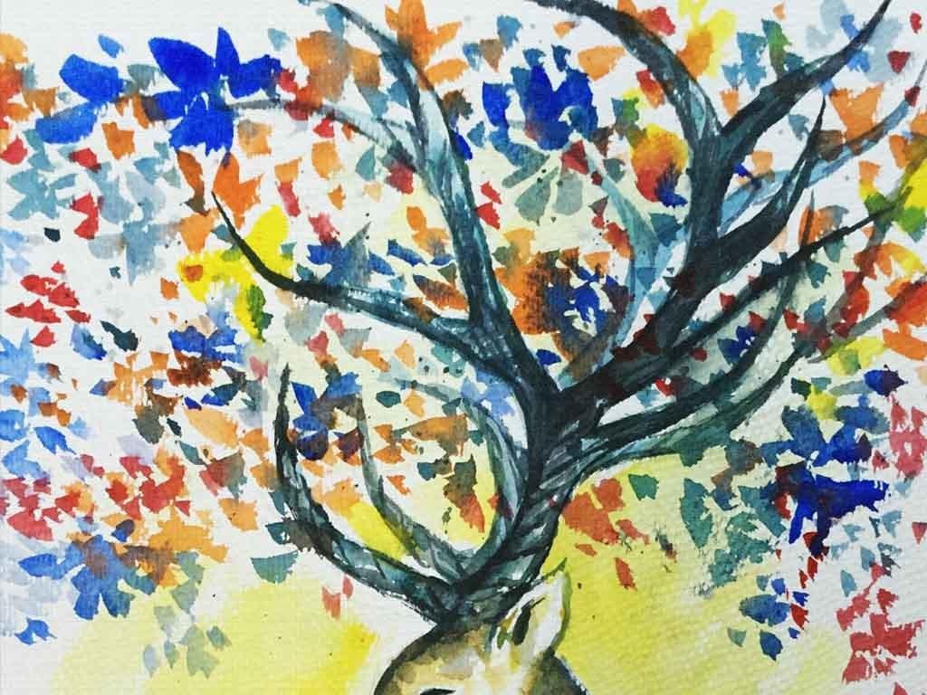 北欧手绘麋鹿现代玄关背景装饰画