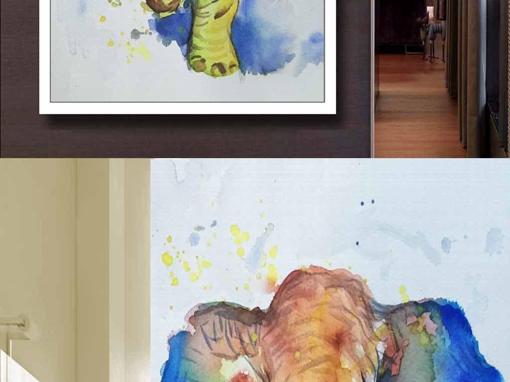 装饰画象壁画玄关玄关背景壁画欧式野生动物手绘背景彩色炫彩大象水彩