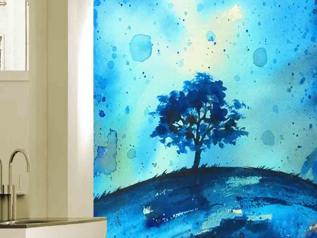 唯美手绘蓝色风景现代玄关背景