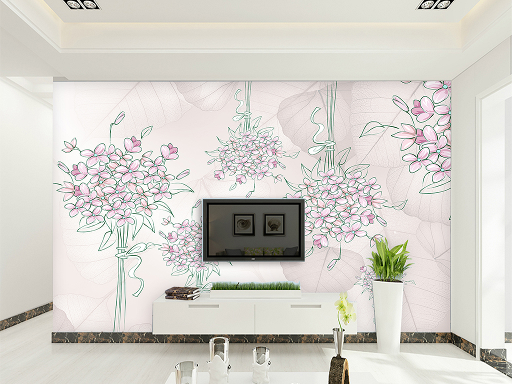 客厅复古美式手绘复古美式田园淡雅背景现代画现代
