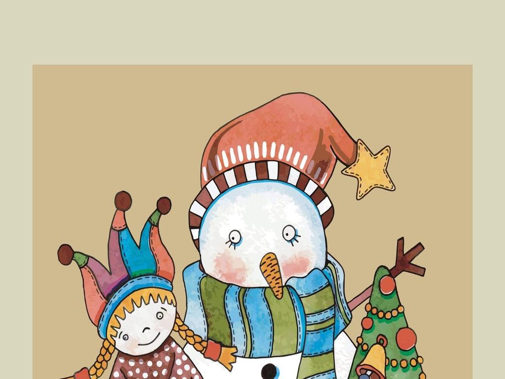 卡通图案雪人插画场景画平面设计素材