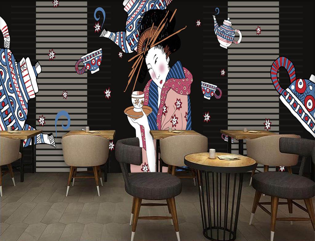 日式手绘美女仕女日本料理店背景墙