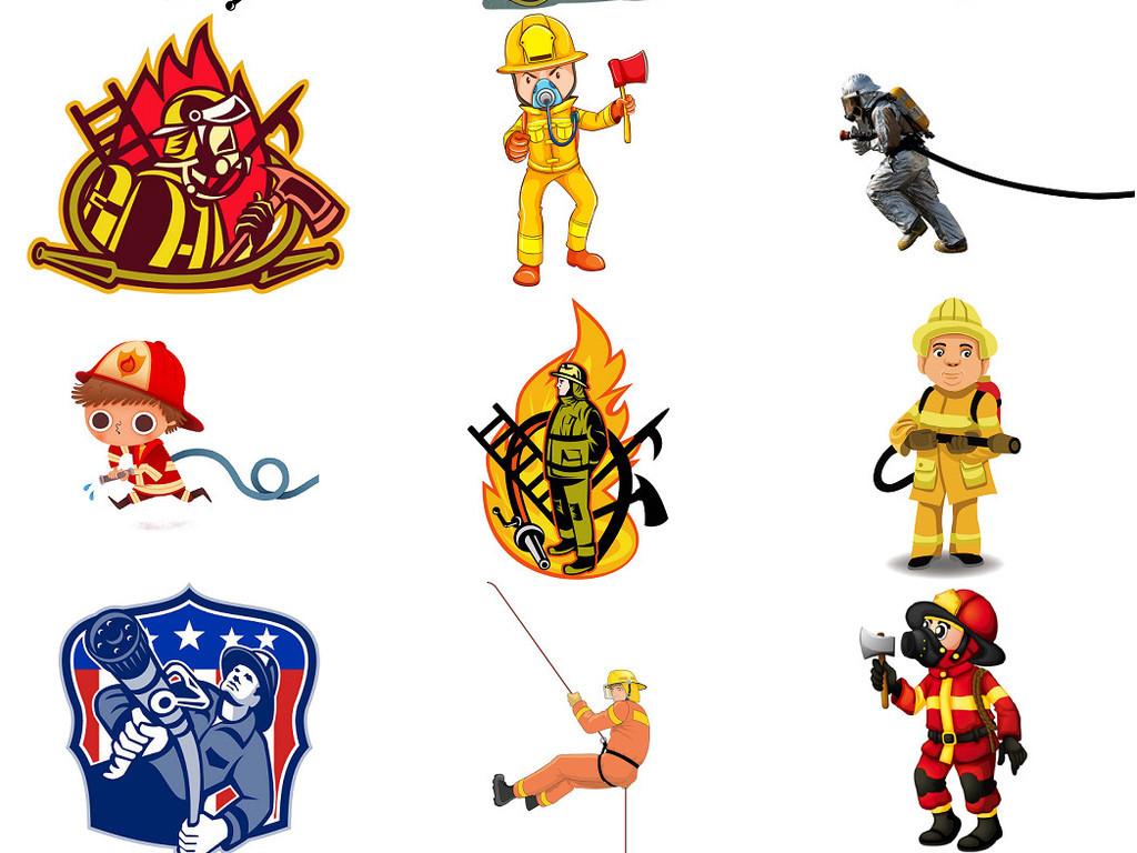消防员卡通形象免抠设计图素材2