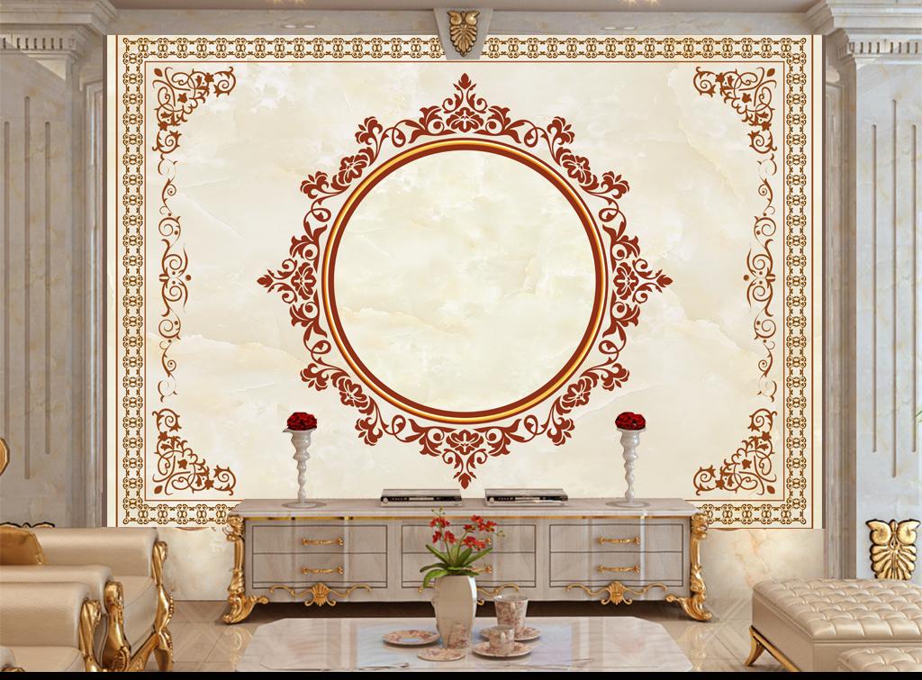 欧式花纹花边地毯天花吊顶背景墙