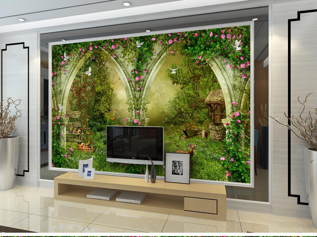 欧式拱门花园茅草屋森林童话装饰画水果果园蔷薇花藤