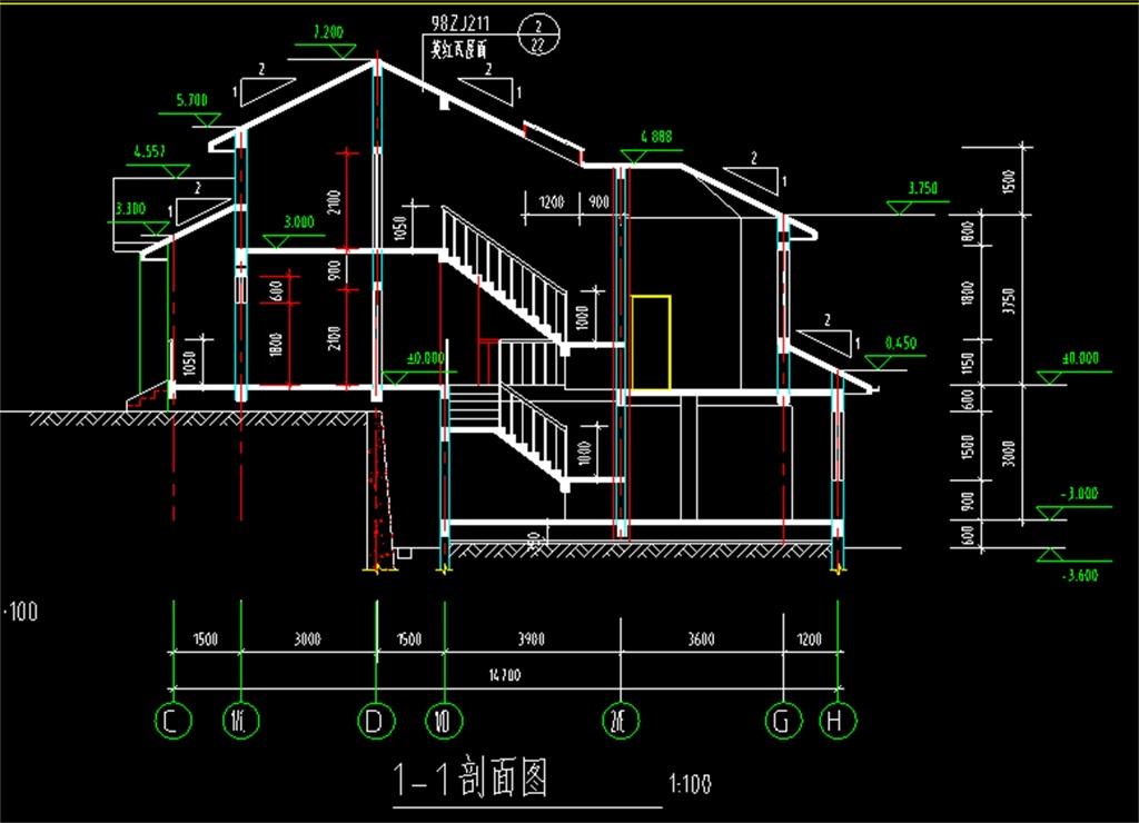 某别墅cad施工平面图