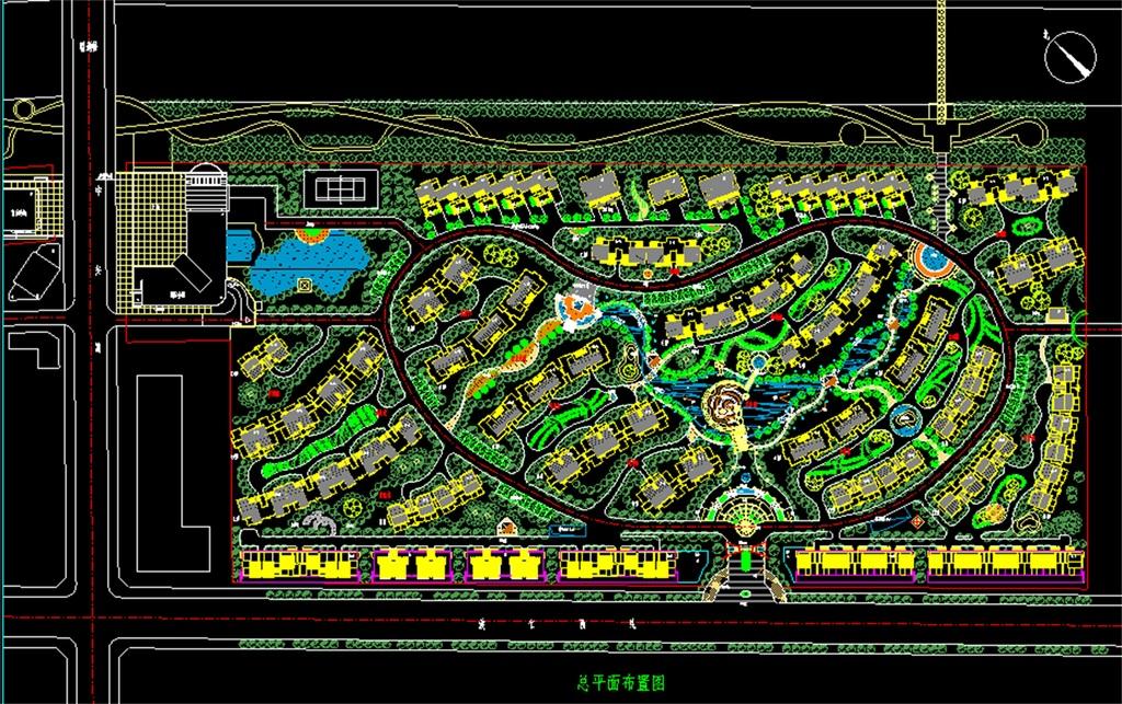 多层小区cad景观规划总平面图