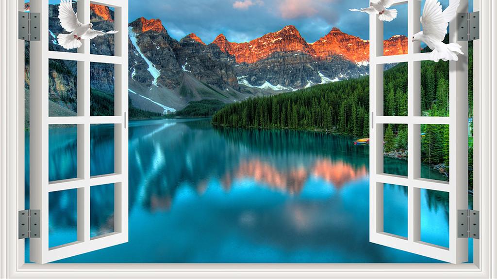 3d窗外红色山峰背景墙
