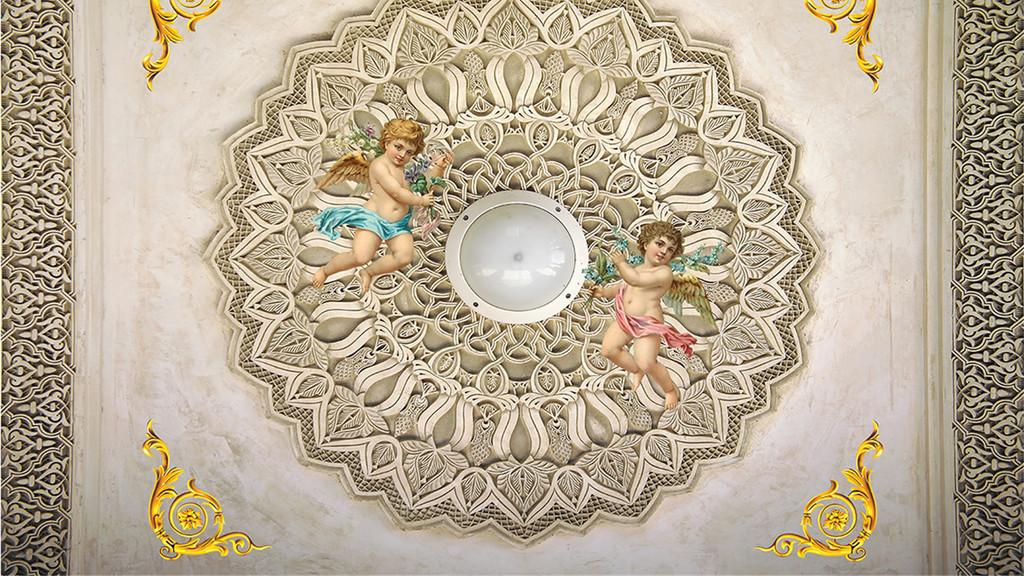 欧式风格天使下凡天顶壁画(图片编号:16132398)
