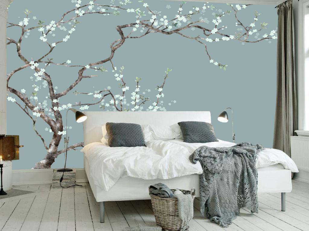 手绘中式中式花鸟时尚背景沙发背景沙发中式背景花鸟背景简约时尚中式