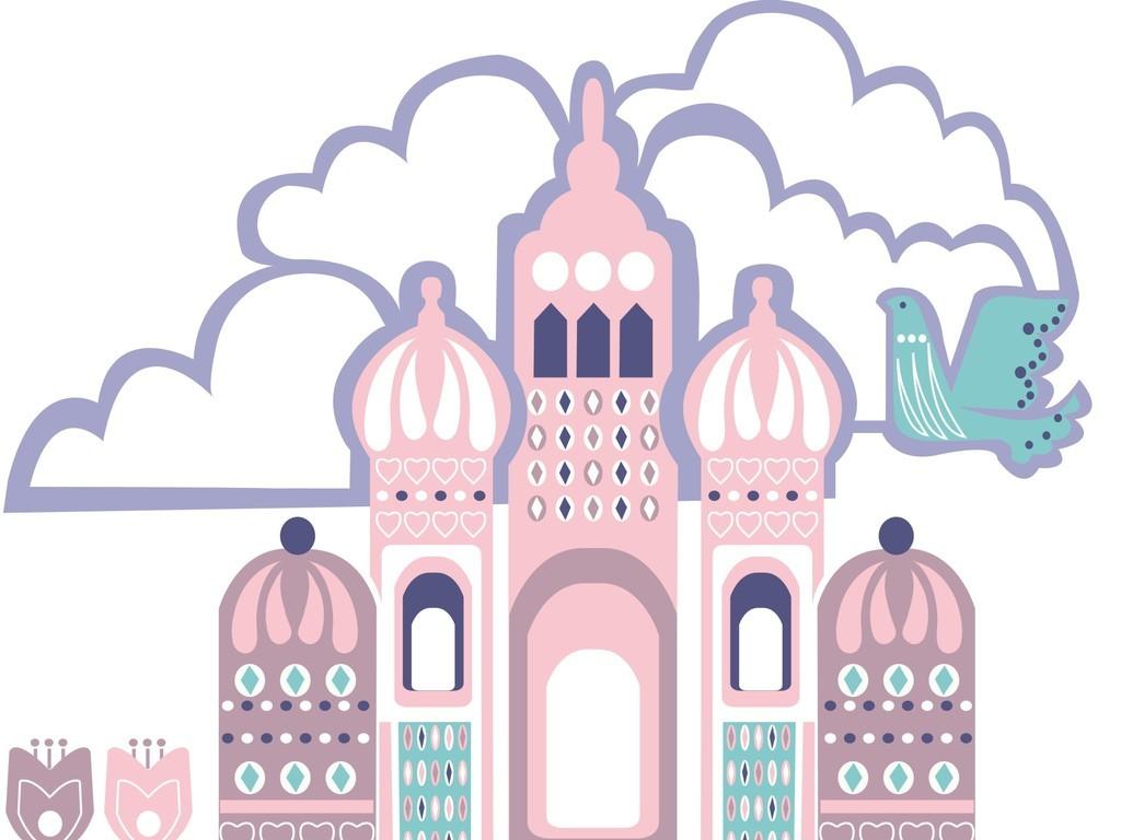 卡通图案插画场景画平面设计素材建筑物