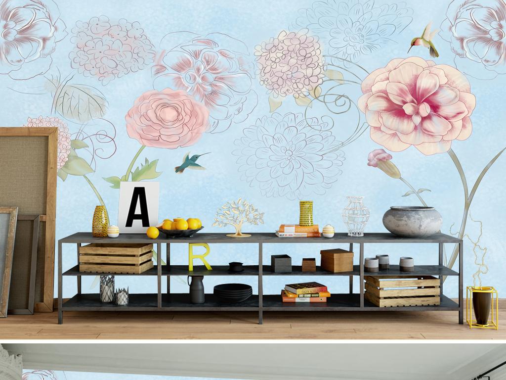 设计作品简介: 123时尚花朵花卉沙发背景墙