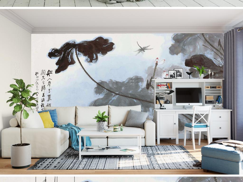 148唯美荷花山水画沙发背景墙图片